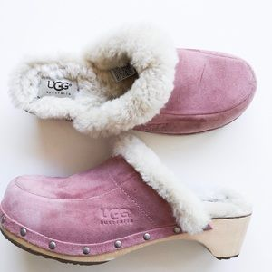 UGGs Sheepskin Lined Pink Suede Wood Block Clog